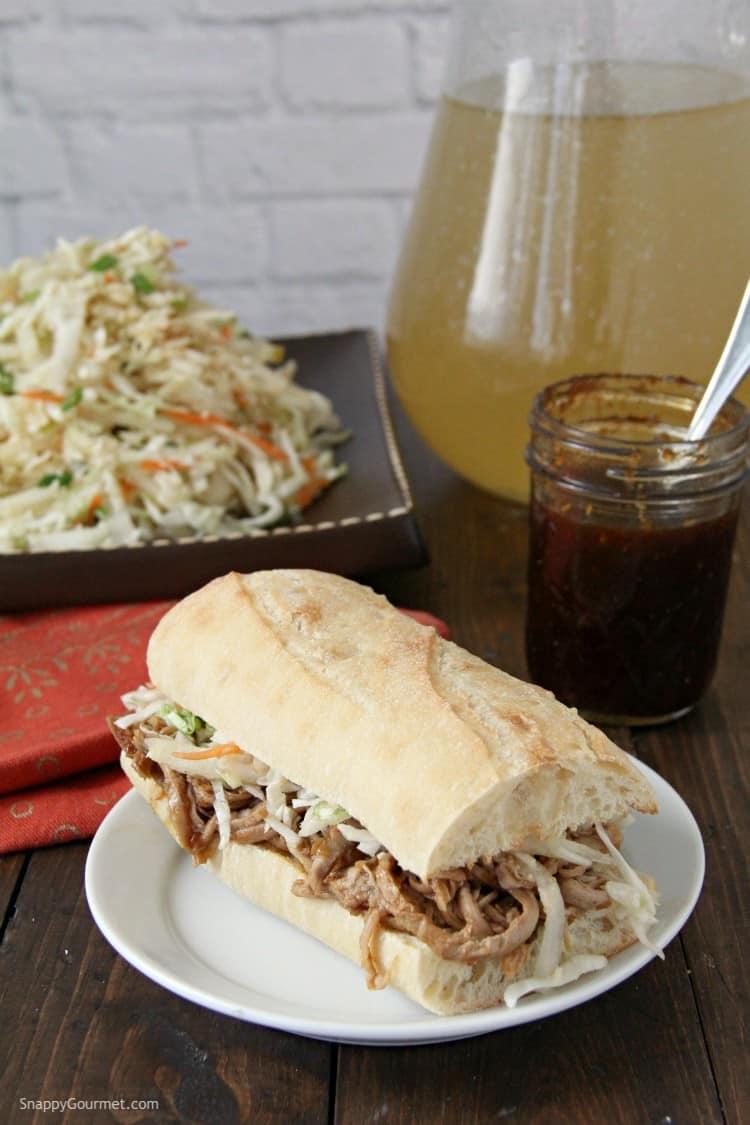 Korean BBQ Pork Sandwich on plate