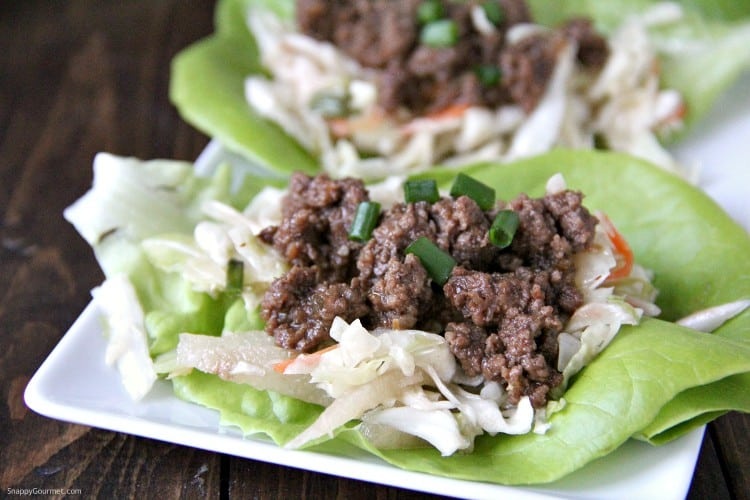 Korean Lettuce Wraps with BBQ Beef closeup