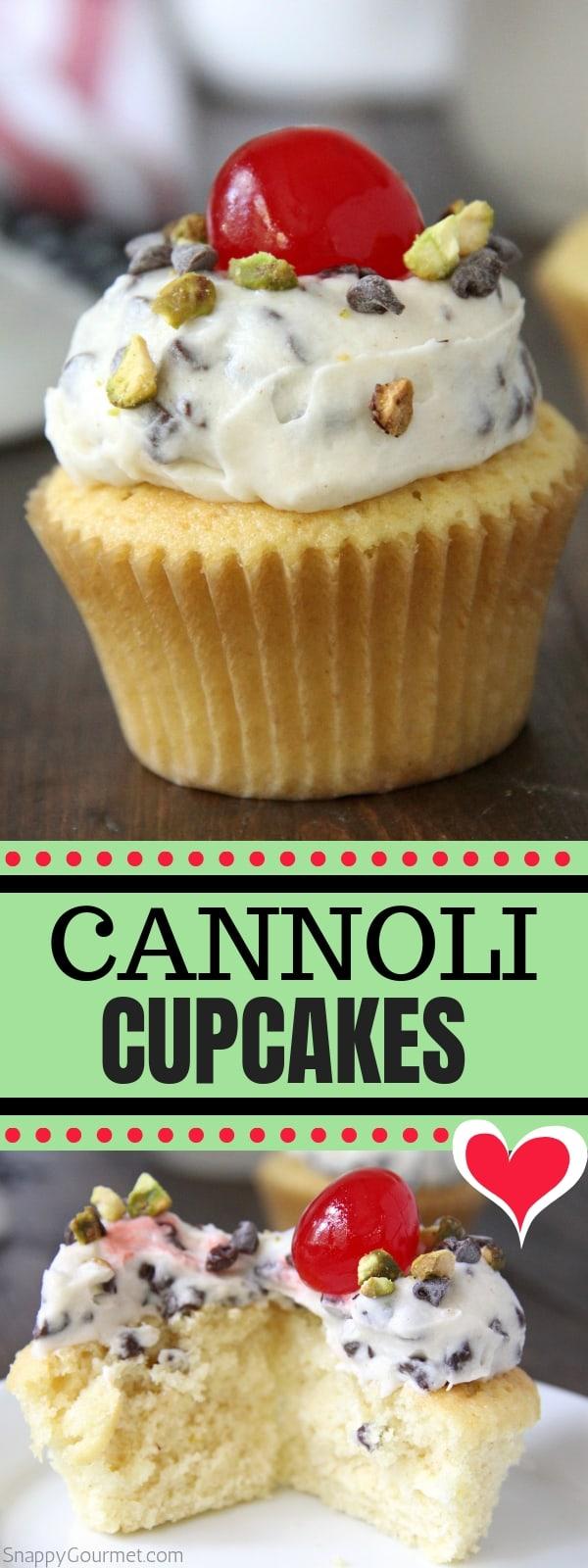 cannoli cupcake collage