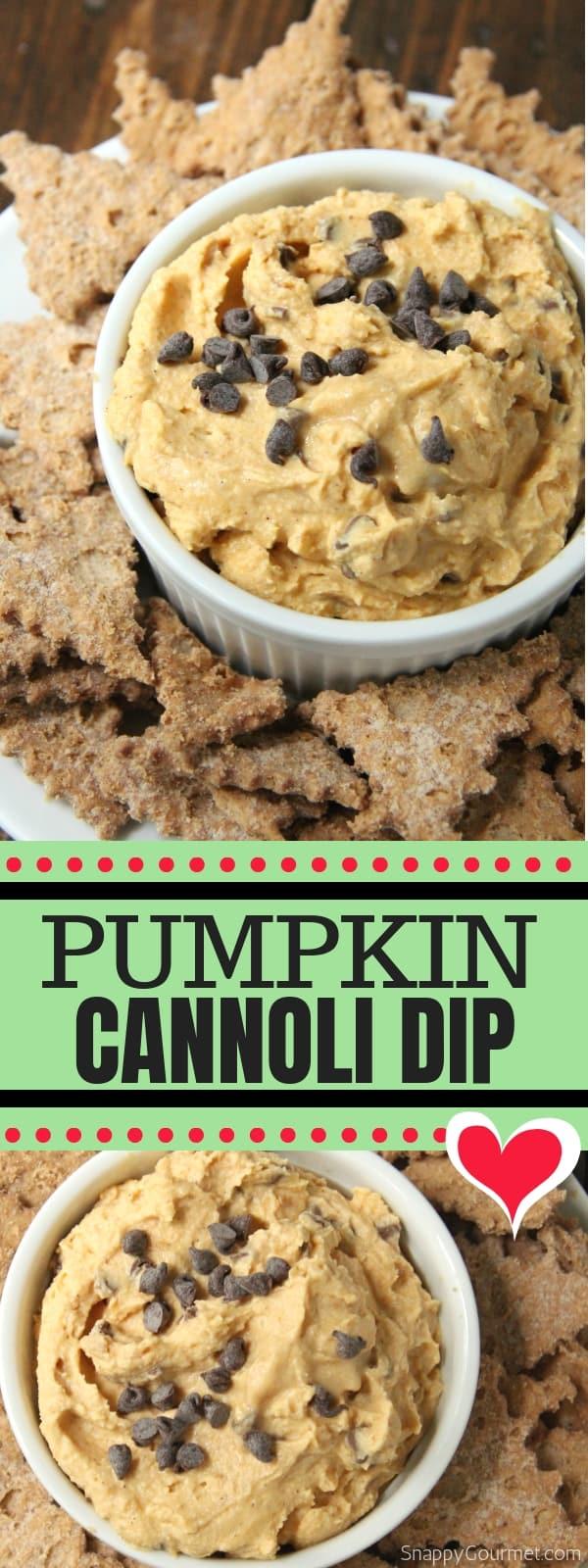 pumpkin cannoli dip collage