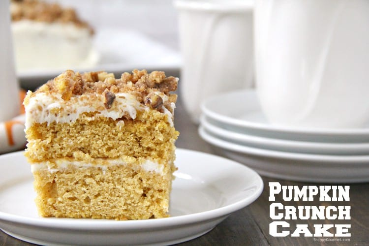 Pumpkin Crunk Cake on white plate