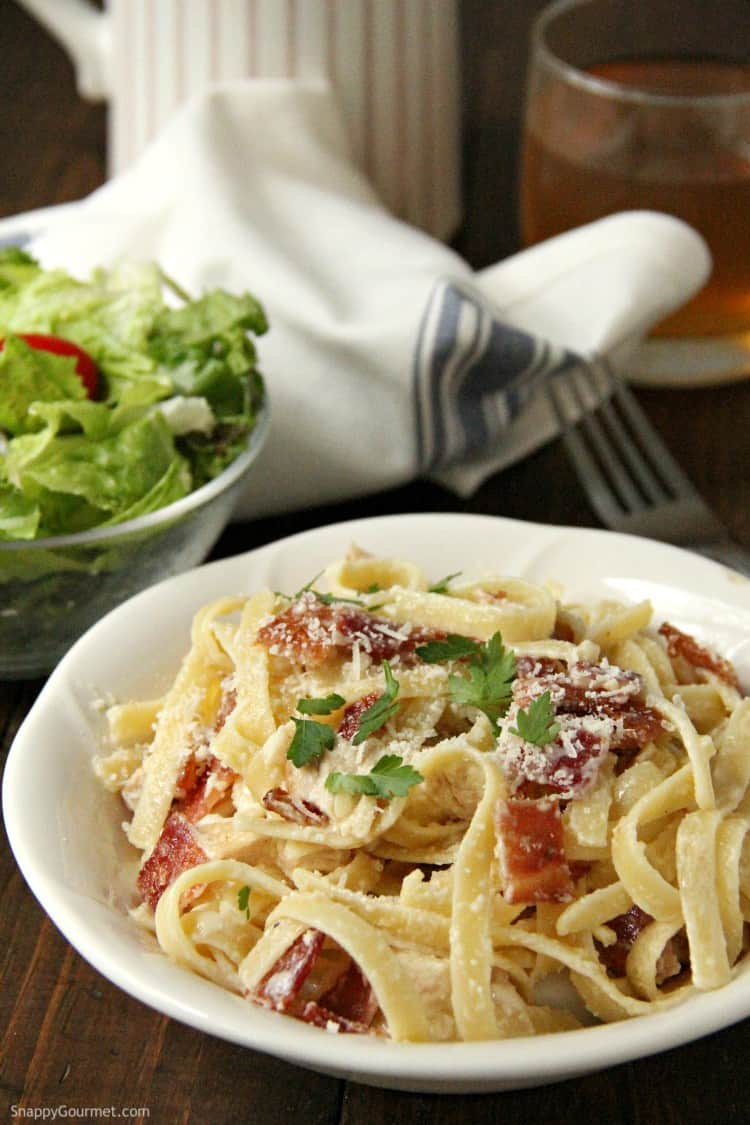 Chicken Bacon Alfredo Pasta with salad