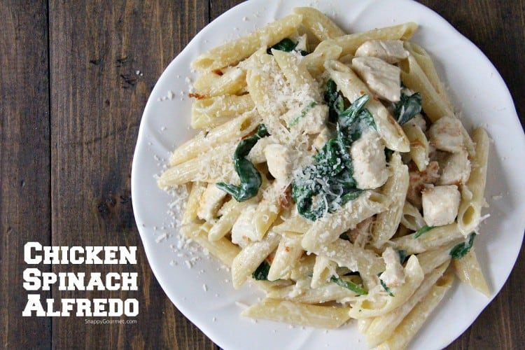 Chicken Spinach Alfredo pasta with from scratch on sauce on plate
