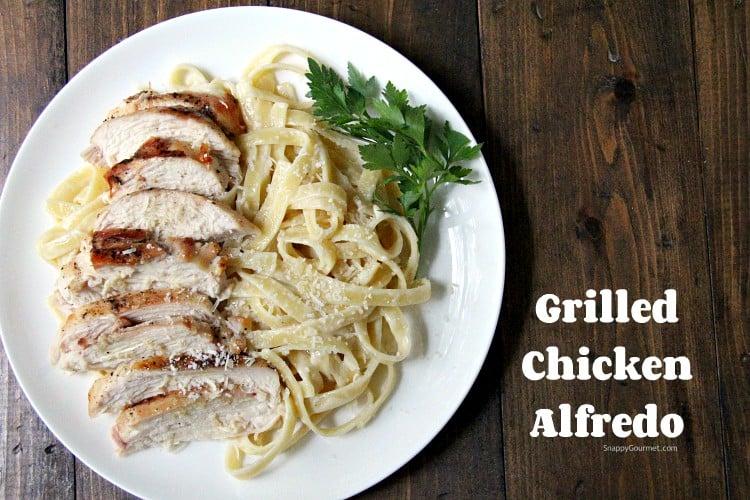 cheesy Grilled Chicken Alfredo Pasta on plate