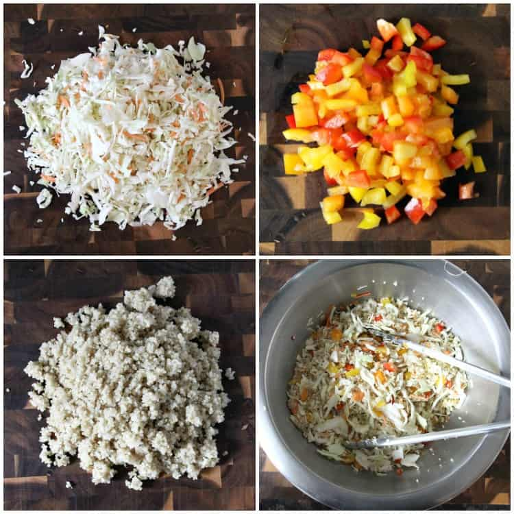 cabbage slaw, bell peppers, and quinoa