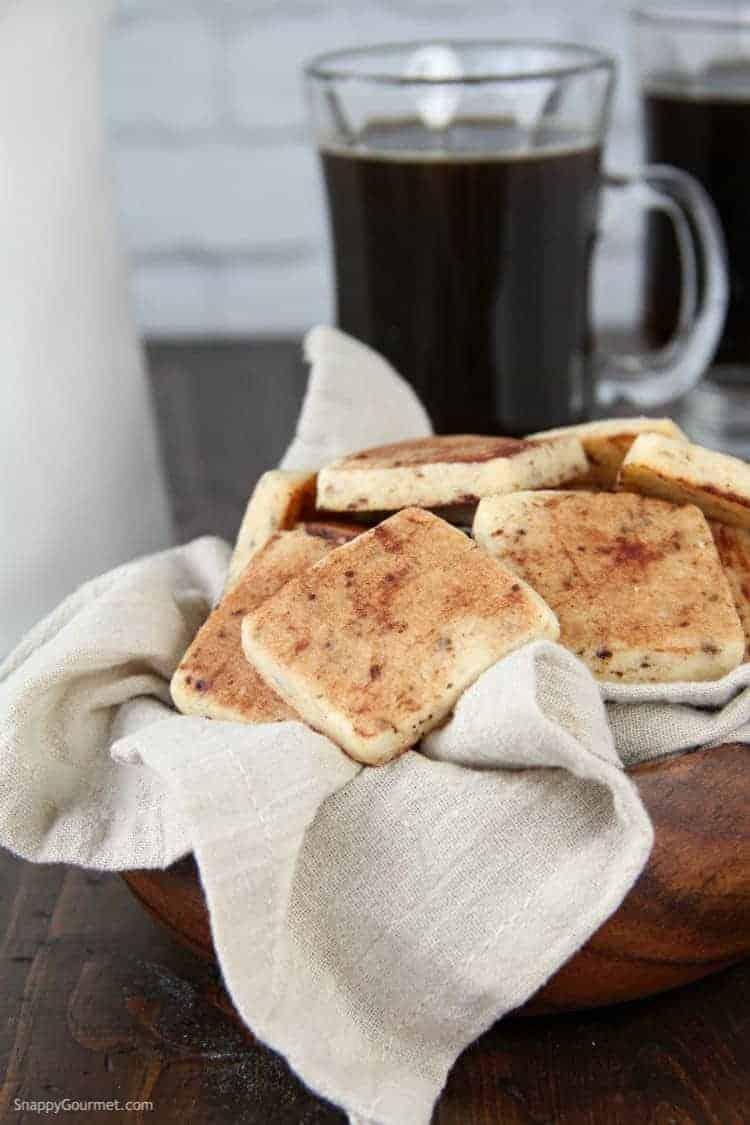 Tiramisu Cookies in basket with cup of coffee