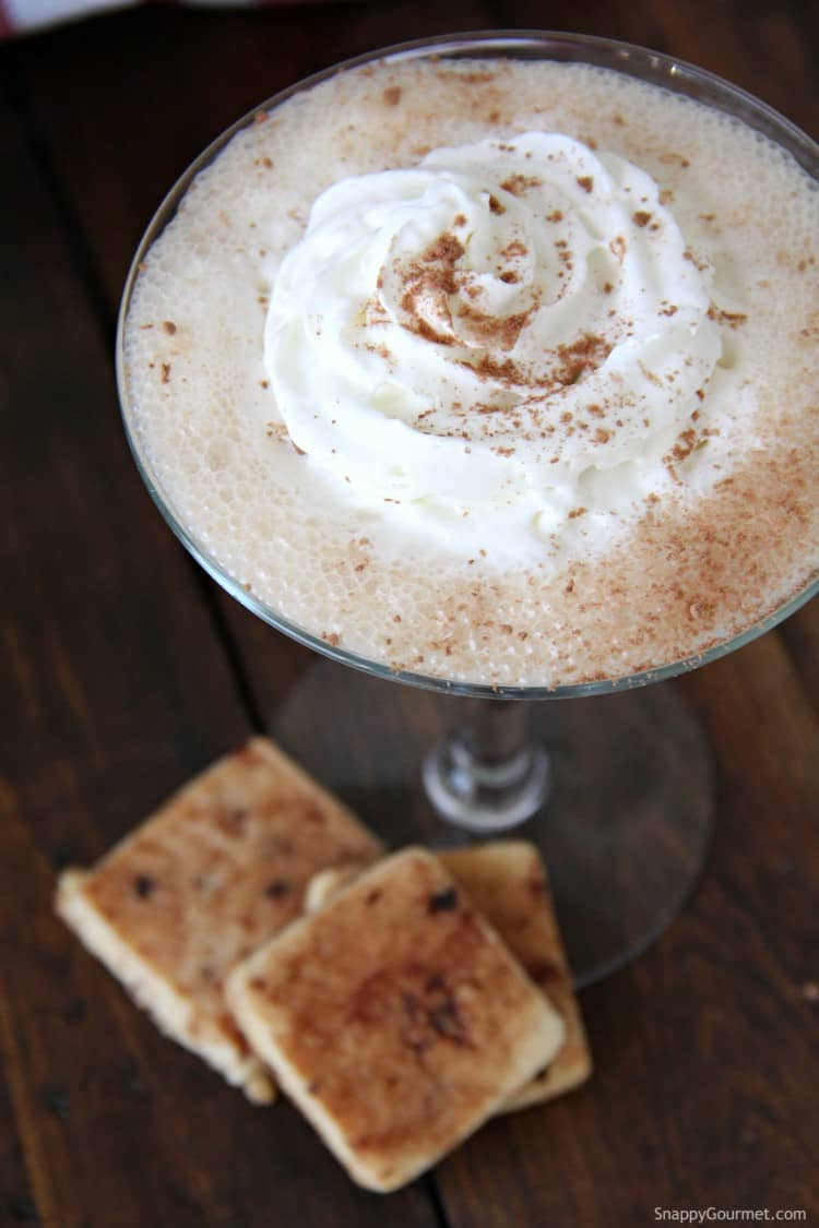 Tiramisu Martini with whipped cream and cocoa