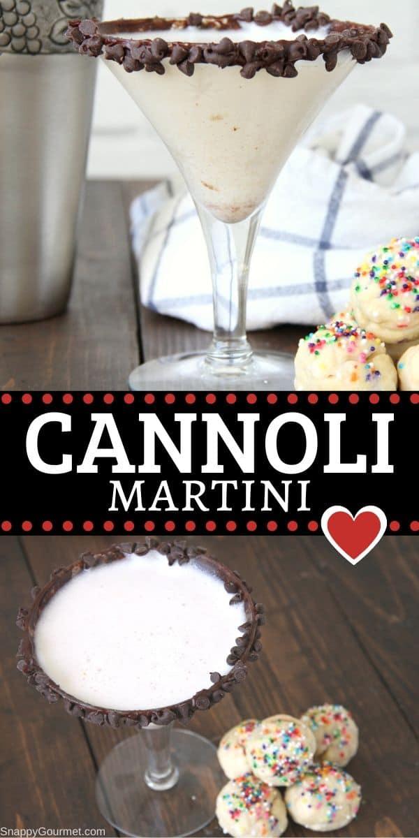 Cannoli Martini cocktail collage