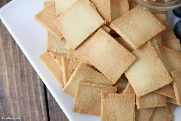 Almond Flour Crackers on white plate