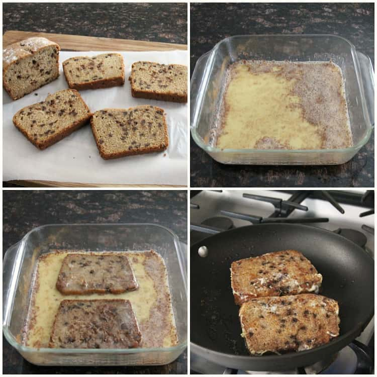 Steps for how to make Cannoli French Toast
