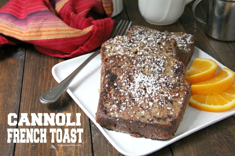 Slices of Cannoli French Toast with powdered sugar