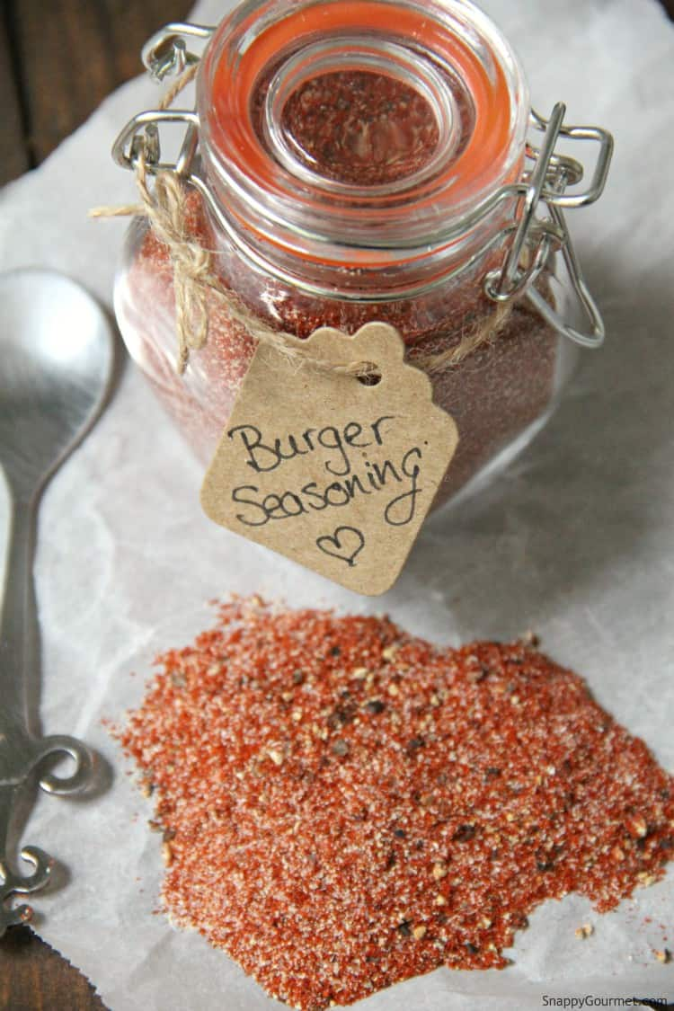 burger seasoning in glass jar