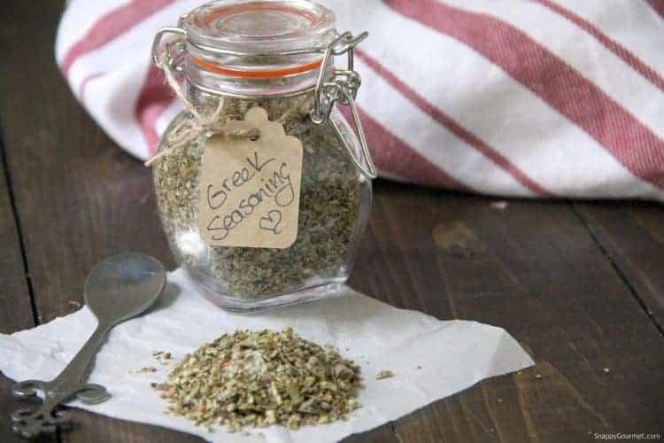 Greek Seasoning in glass jar with gift tag