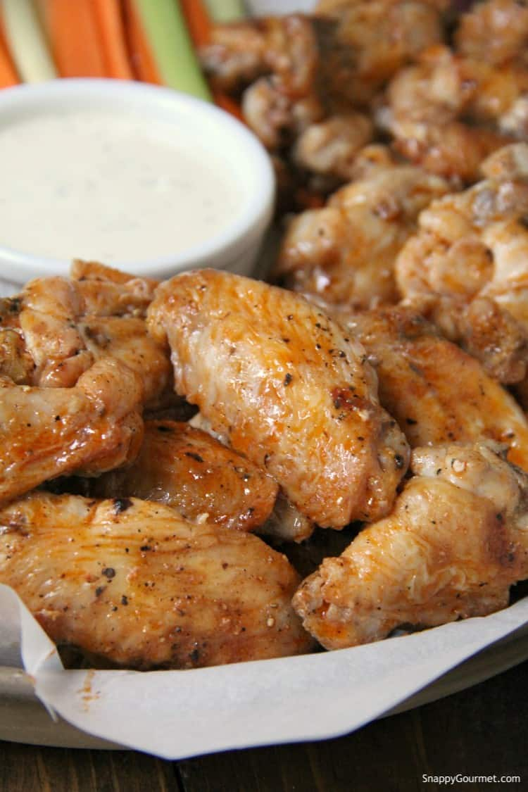 Grilled wings with homemade buffalo sauce