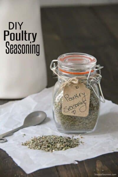 poultry seasoning in glass jar with gift tag