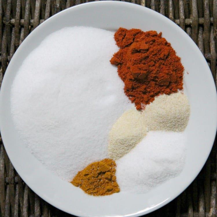 ingredients for seasoning salt on plate
