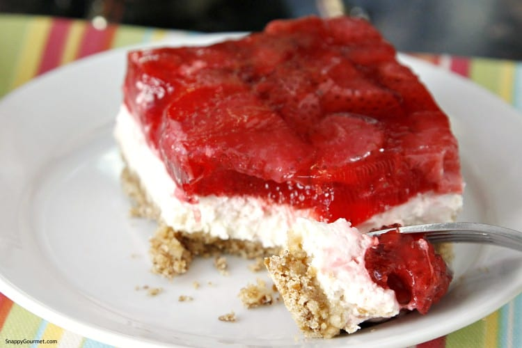 Strawberry Pretzel bars with fork