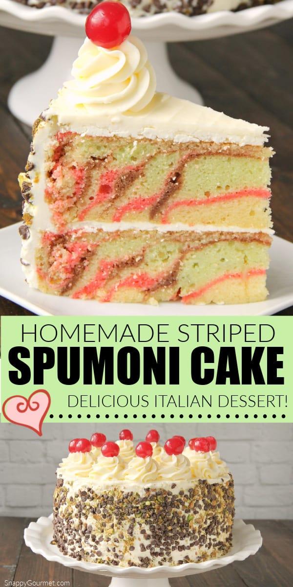 collage of spumoni cake