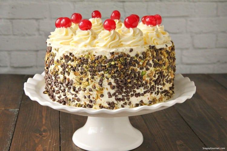whole spumoni cake on cake platter