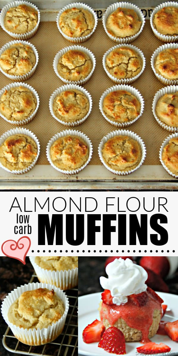 collage of almond flour muffins