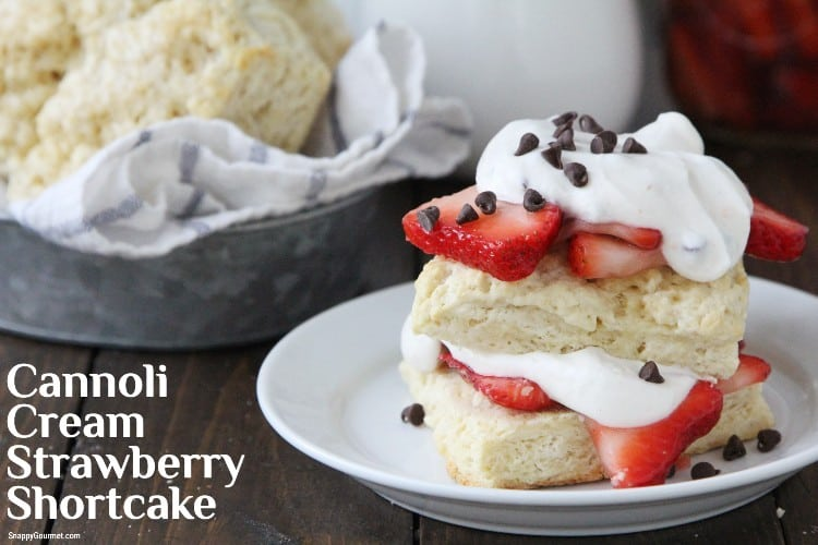 shortcake on plate with strawberries and cannoli cream