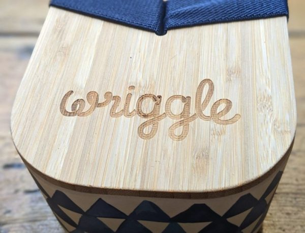 close up wriggle branded bamboo lunchbox