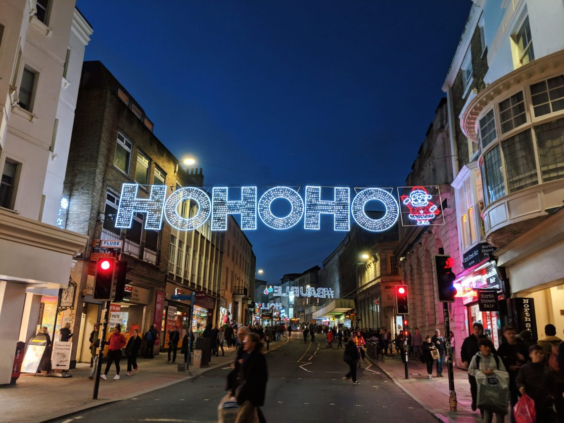 christmas lights in brighton street saying ho ho ho