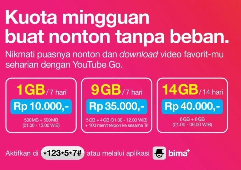 paket internet tri youtube GO