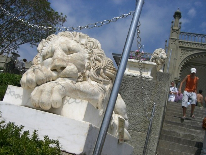 Lion statue at the Vorontsov Palace, Crimea, Ukraine