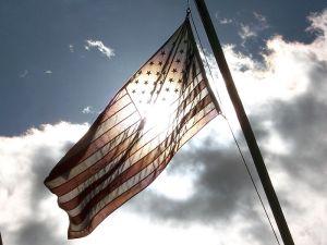 American flag backlit sunlight