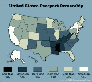 Percentage of Americans who have a passport, state by state
