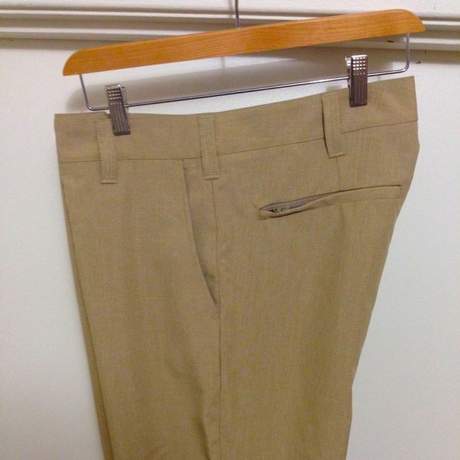 Bluffworks travel pants side view with security pocket