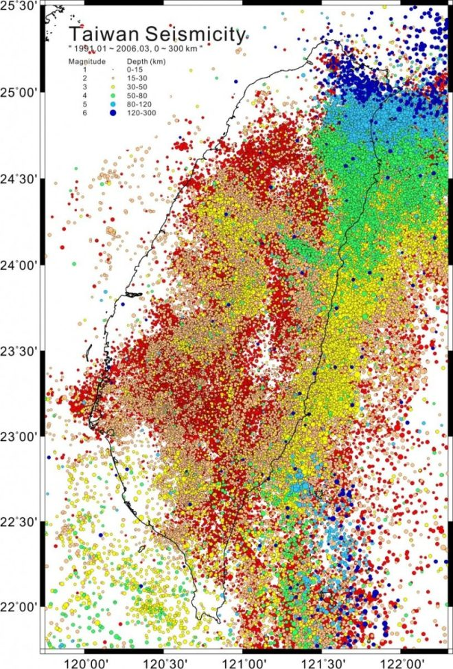 Taiwan seismic activity 1991-2006
