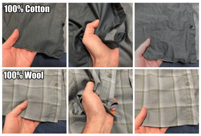Cotton vs wool wrinkle test