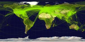 World Flight Paths Map