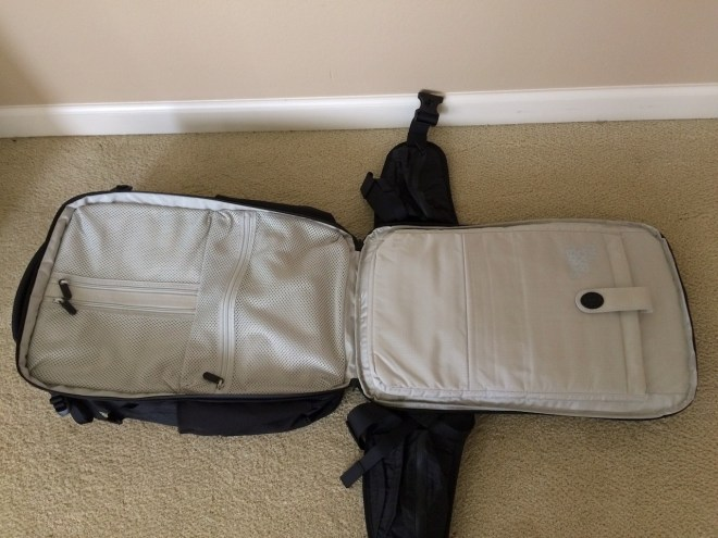 Tortuga Outbreaker Backpack laptop compartment fully open