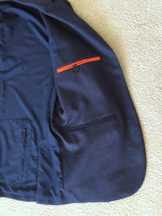 Bluffworks blazer left inner pockets