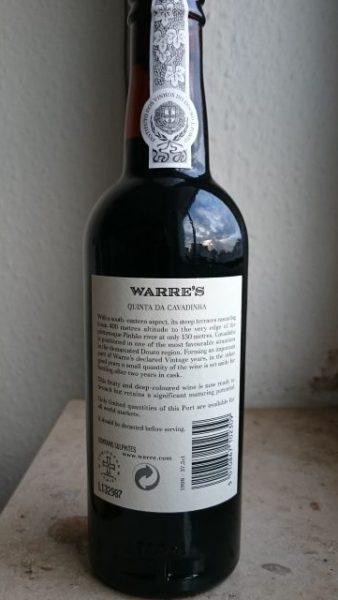 Back label for Warre's Quinta da Cavadinha 1998 Vintage port