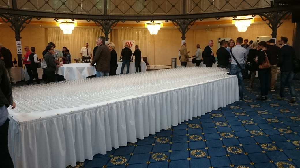 Table of tasting glasses at the Alte Reithalle in Stutgart