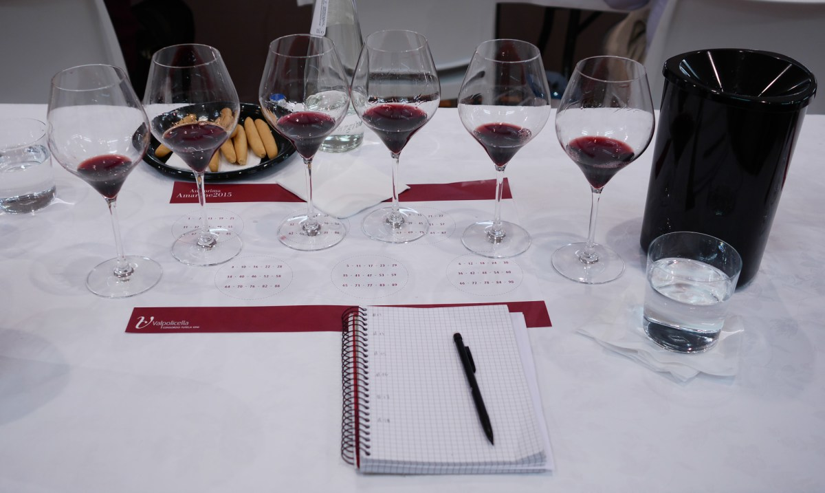 Six tasting glasses from the first flight of Amarone 2015.