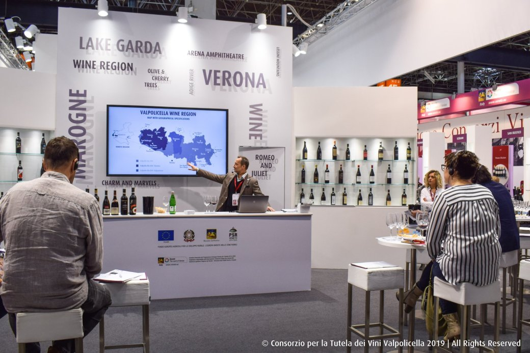 Tasting the wines of Valpolicella as the Consortium stand at ProWein