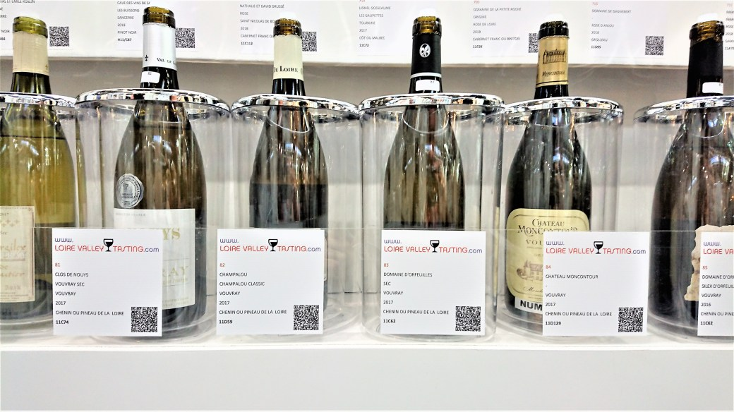 A lineup of Chenin Blanc at the Loire tasting area at ProWein
