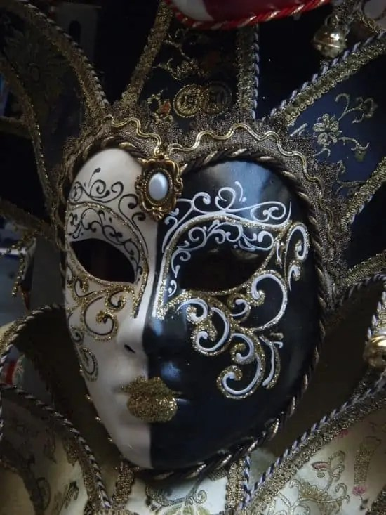 black and white carnival mask