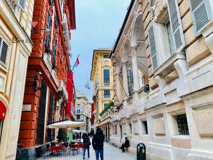 Visit Genoa Italy red palace opposite white palace