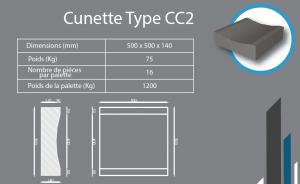 Cunette CC2 500x500x140