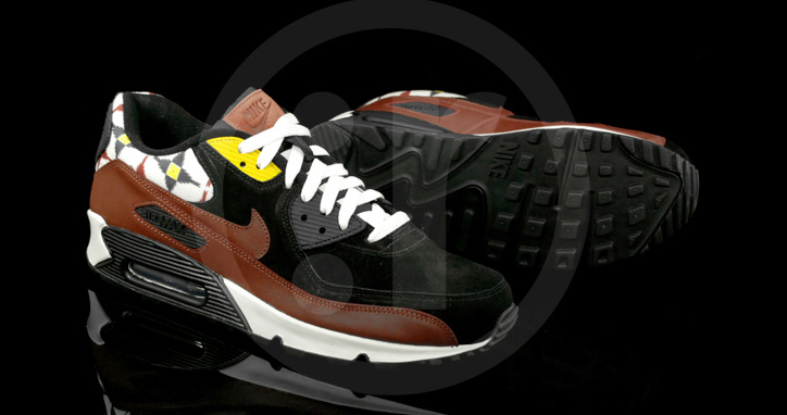 "Photo03 - NIKE AIR MAX 90 ""AZTEC"" BLACK/OXEN BROWN-SAIL"