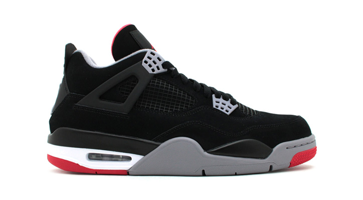 Photo01 - NIKE AIR JORDAN 4 RETRO BLACK/CEMENT GREY-FIRE RED