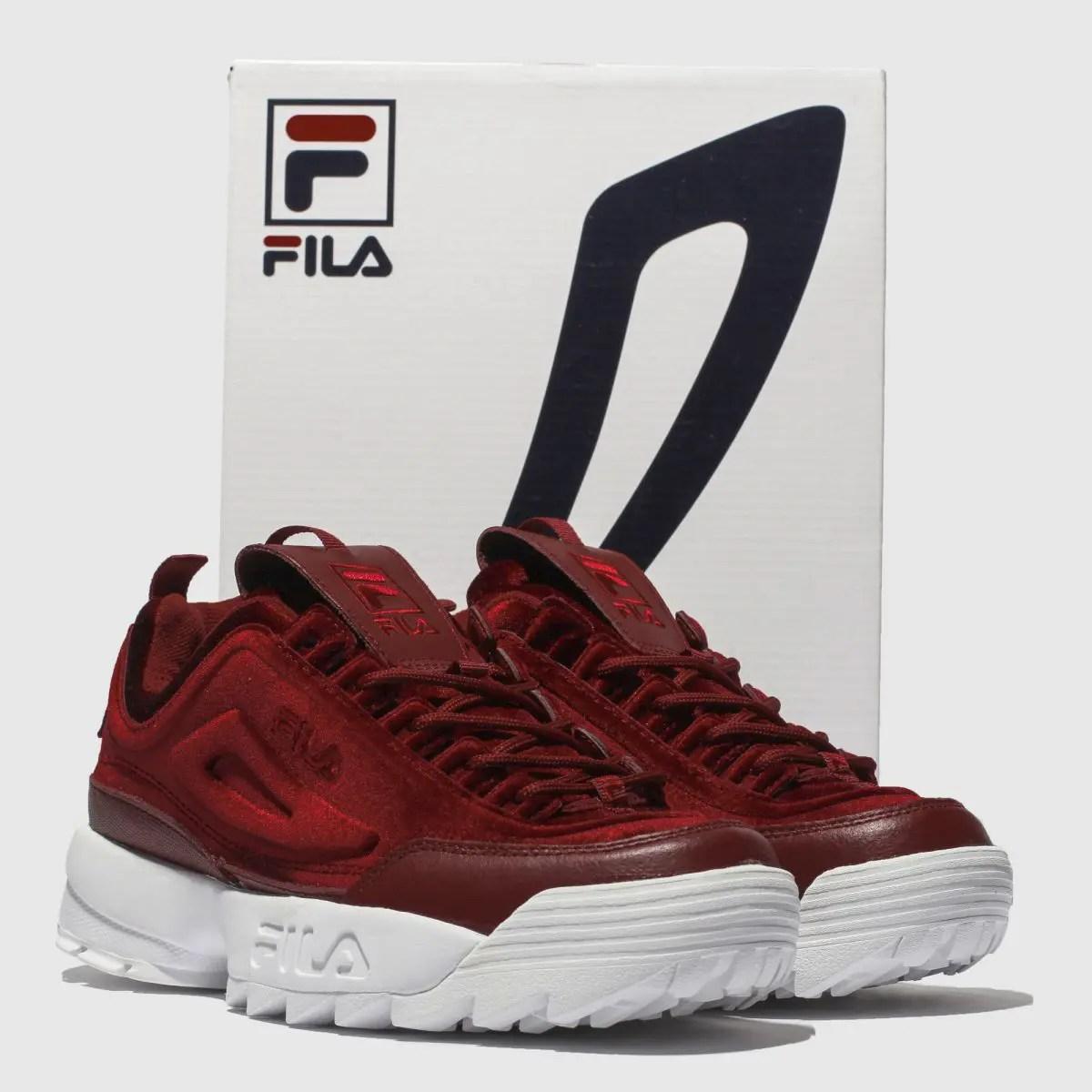fila burgundy disruptor ii premium velour trainers