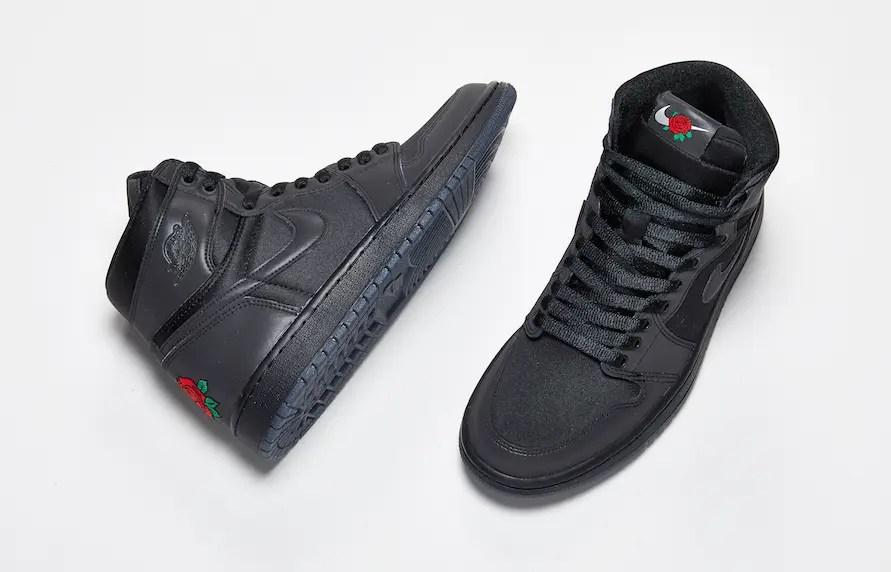 """12/12 海外リリース!【Nike】オールブラックに赤い薔薇の刺繍が映える Air Jordan 1 Retro High OG """"Rox Brown"""" (エア ジョーダン 1 レトロ ハイ オージー """"ロックスブラウン"""") * BV1576-001"""