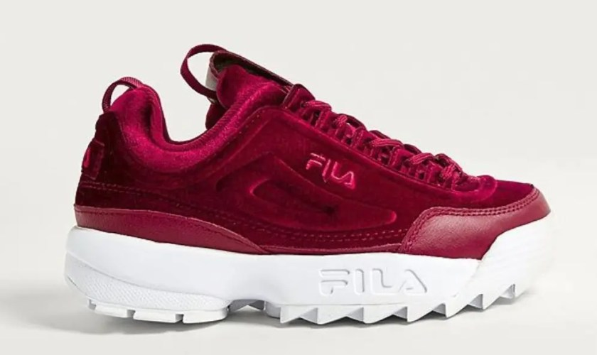 FILA-Disruptor-II-Premium-Red-Velour-Trainers